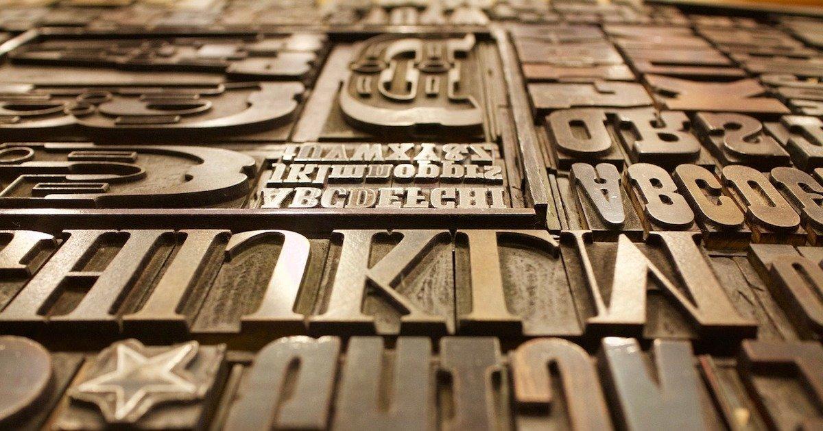 lastra tipografica in ottone