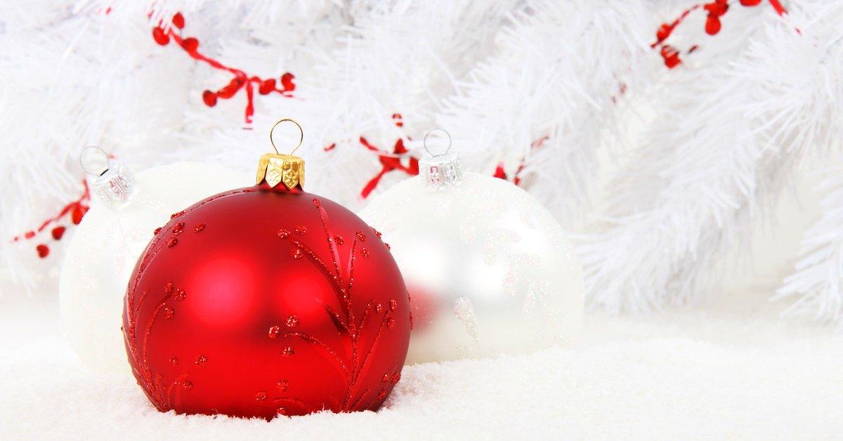 palle di Natale rossa e bianca